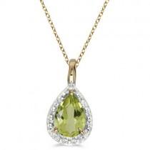 Pear Shaped Peridot Pendant Necklace 14k Yellow Gold (0.85ct)