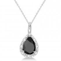 Pear Shaped Black Onyx Pendant Necklace 14k White Gold (0.85ct)