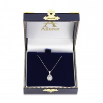 Pear Shaped White Topaz Pendant Necklace 14k White Gold (0.85ct)
