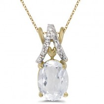 White Topaz & Diamond Solitaire Pendant 14k Yellow Gold (1.50tcw)