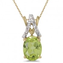 Peridot & Diamond Solitaire Pendant 14k Yellow Gold (1.40tcw)