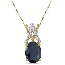 Blue Sapphire & Diamond Solitaire Pendant 14k Yellow Gold (1.40tcw)