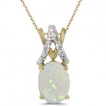 Opal & Diamond Solitaire Pendant 14k Yellow Gold (1.40tcw)