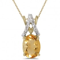 Oval Citrine & Diamond Pendant Necklace 14k Yellow Gold (1.40tcw)