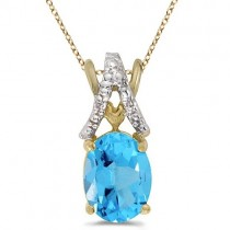 Blue Topaz & Diamond Solitaire Pendant 14k Yellow Gold (1.60tcw)