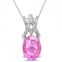 Pink Sapphire & Diamond Solitaire Pendant 14k White Gold (1.40tcw)