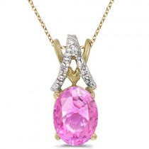 Pink Sapphire & Diamond Solitaire Pendant 14k Yellow Gold (1.40tcw)