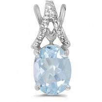 Aquamarine & Diamond Solitaire Pendant 14k White Gold (1.10tcw)