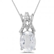 White Topaz & Diamond Solitaire Pendant 14k White Gold (1.50tcw)
