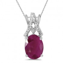 Ruby & Diamond Solitaire Pendant 14k White Gold (1.50tcw)