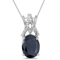 Blue Sapphire & Diamond Solitaire Pendant 14k White Gold (1.40tcw)