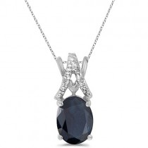 Blue Sapphire & Diamond Solitaire Pendant 14k White Gold (1.40tcw)|escape