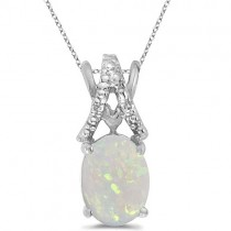 Opal & Diamond Solitaire Pendant 14k White Gold (1.40tcw)