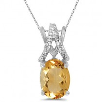 Oval Citrine & Diamond Pendant Necklace 14k White Gold (1.40tcw)