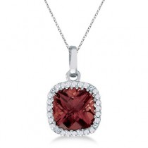 Cushion-Cut Garnet and Diamond Pendant Necklace 14K White Gold (7mm)
