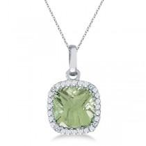 Cushion-Cut Green Amethyst and Diamond Pendant 14K White Gold (7mm)