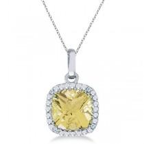 Cushion-Cut Lemon Quartz & Diamond Pendant 14K White Gold (7mm)