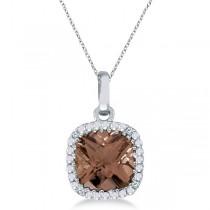 Cushion-Cut Smoky Topaz & Diamond Pendant Necklace 14K White Gold (7mm)