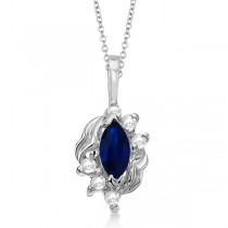 Marquise Blue Sapphire & Diamond Pendant in 14K White Gold (0.34ct)