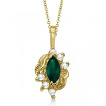 Marquise Emerald & Diamond Pendant in 14K Yellow Gold (0.34ct)