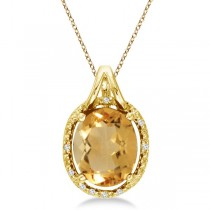 Oval Citrine and Diamond Pendant Necklace 14k Yellow Gold (3.00ct)