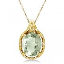 Oval Green Amethyst & Diamond Pendant Necklace 14k Yellow Gold (3.00ct)