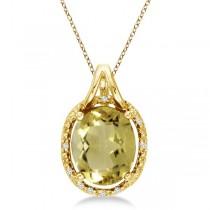 Oval Lemon Quartz & Diamond Pendant Necklace 14k Yellow Gold (3.00ct)