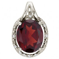 Oval Garnet and Diamond Pendant Necklace 14k White Gold (3.00ct)|escape