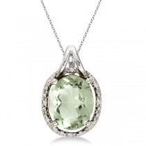 Oval Green Amethyst & Diamond Pendant Necklace 14k White Gold (3.00ct)|escape