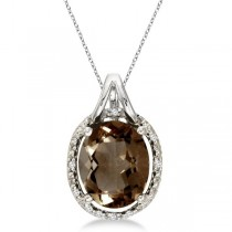 Oval Smoky Topaz and Diamond Pendant Necklace 14k White Gold (3.00ct)