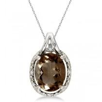 Oval Smoky Topaz and Diamond Pendant Necklace 14k White Gold (3.00ct)