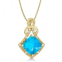 Blue Topaz & Diamond Swirl Pendant Necklace 14k Yellow Gold (4.05ct)