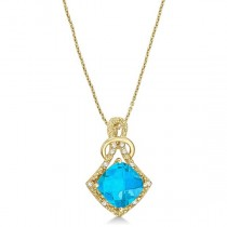 Blue Topaz & Diamond Swirl Pendant Necklace 14k Yellow Gold (4.05ct)|escape