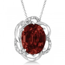 Garnet & Diamond Flower Shaped Pendant 14k White Gold (2.45ct)