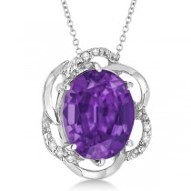 Amethyst & Diamond Flower Shaped Pendant 14k White Gold (2.45ct)