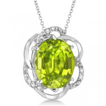 Peridot & Diamond Flower Shaped Pendant 14k White Gold (2.45ct)