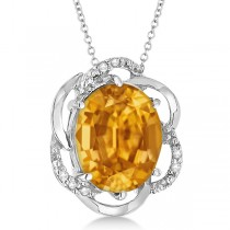 Citrine & Diamond Flower Shaped Pendant 14k White Gold (2.45ct)