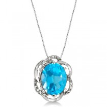 Blue Topaz & Diamond Flower Shaped Pendant 14k White Gold (3.00ct)
