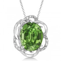 Green Amethyst & Diamond Flower Shaped Pendant 14k White Gold (2.45ct)