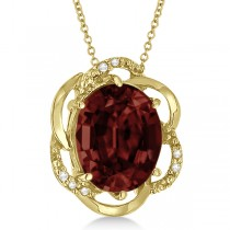 Garnet & Diamond Flower Shaped Pendant 14k Yellow Gold (2.45ct)