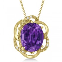 Amethyst & Diamond Flower Shaped Pendant 14k Yellow Gold (2.45ct)
