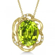 Peridot & Diamond Flower Shaped Pendant 14k Yellow Gold (2.45ct)