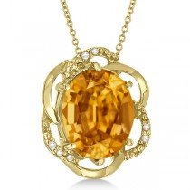 Citrine & Diamond Flower Shaped Pendant 14k Yellow Gold (2.45ct)