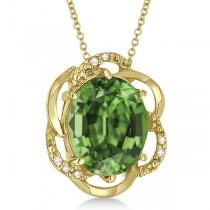 Green Amethyst & Diamond Flower Shaped Pendant 14k Yellow Gold (2.45ct)