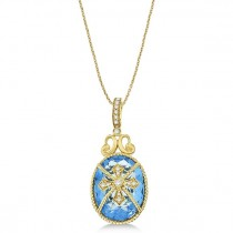 Blue Topaz & Diamond Byzantine Pendant Necklace 14k Yellow Gold (9.36ct)|escape