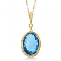 Antique Blue Topaz & Diamond Pendant Necklace 14k Yellow Gold (6.75ct)