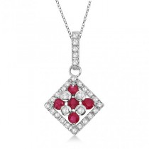 Ruby & Diamond Square Pendant Necklace 14k White Gold (0.55ct)