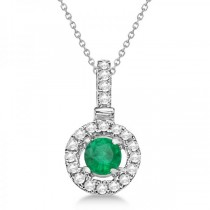 Green Emerald & Diamond Floating Halo Pendant Necklace (0.42ct)