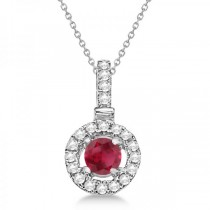 Ruby Gemstone Floating Halo Pendant Necklace 14K White Gold (0.47ct)