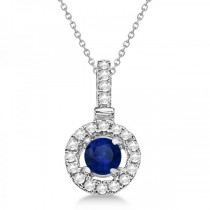 Blue Sapphire Floating Halo Pendant Necklace 14K White Gold (0.47ct)
